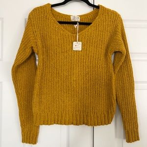 Mustard Yellow Chenille Back Knot Sweater Medium